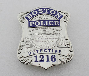 Boston Police Detective Badge Solid Copper Replica Movie Props With Number 1216