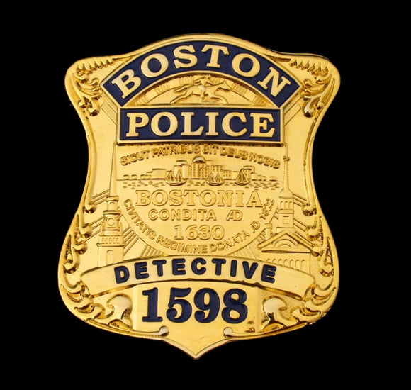 Boston Police Detective Badge Solid Copper Replica Movie Props With Number 1598