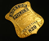 Boston Police Detective Badge Solid Copper Replica Movie Props With Number 829