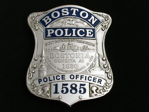 Boston Police Officer Badge Solid Copper Replica Movie Props With Number 1585