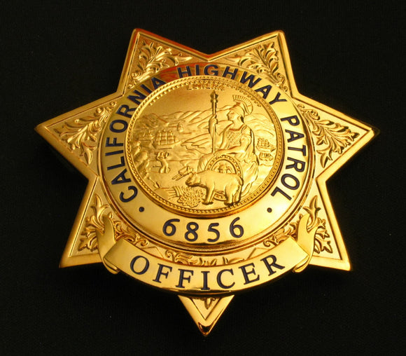 US California Highway Patrol CHP Officer Badge Solid Copper Replica Movie Props With Number 6856