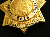 CHP TRAFFIC OFFICER Badge Solid Copper Replica Movie Props With Number 8618