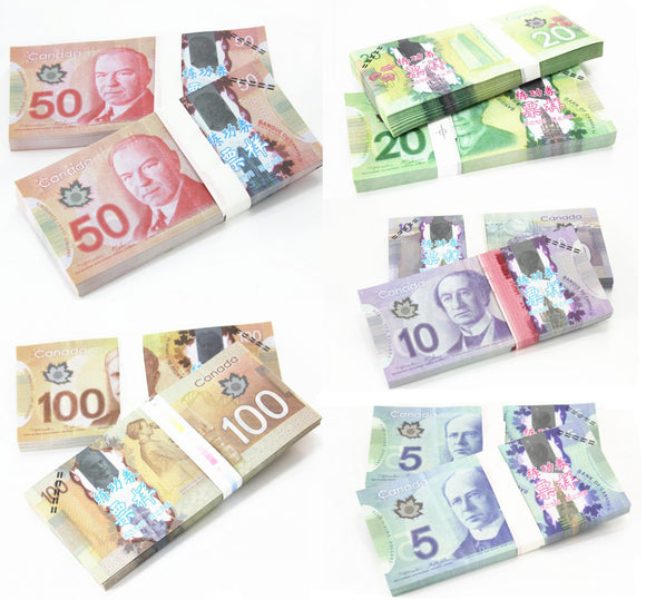 Canadian Dollar CAD Banknotes Paper Play Money Movie Props