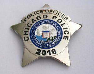 Chicago Police Officer Police Badge Solid Copper Replica Movie Props With Number 2016