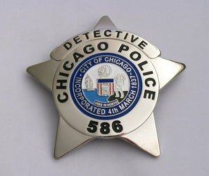 Chicago Detective Police Badge Solid Copper Replica Movie Props With Number 586