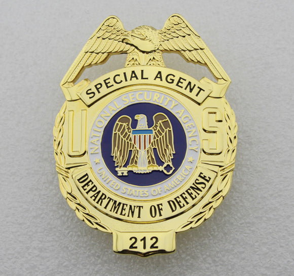 US Department of Defense Special Agent Badge Solid Copper Replica Movie Props With Number 212