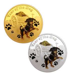 A Pair of 2018 Year of the Dog Lunar Zodiac Dog Pull a Treasure Car Coins