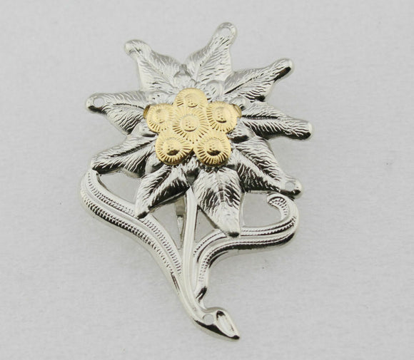 WWII German Officer Edelweiss Mountain Metal Cap Badge Insignia Replica Movie Props