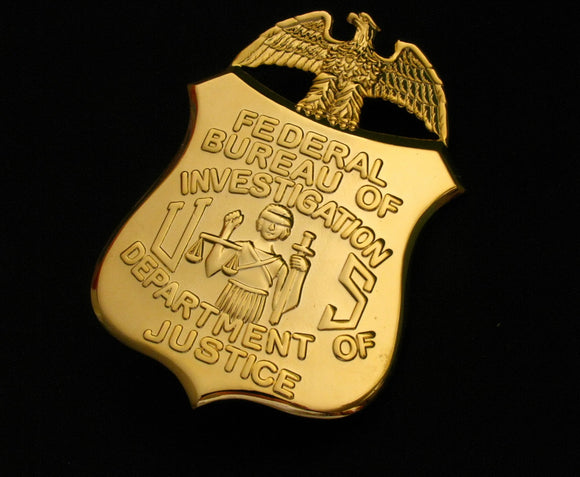 FBI Department of Justice Badge Solid Copper Replica Movie Props
