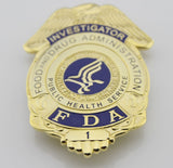 US FDA Investigator Badge Solid Copper Brooch Pin Replica Movie Props