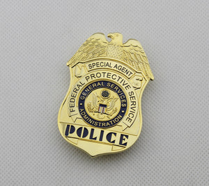 US FPS Special Agent Police Badge Solid Copper Brooch Pin Replica Movie Props