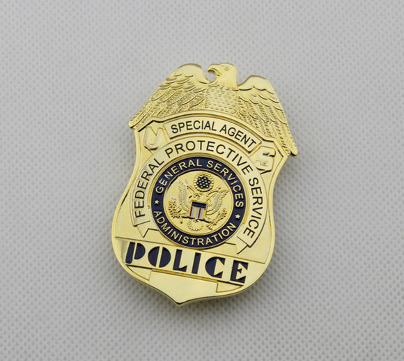 US FPS Special Agent Police Badge Solid Copper Replica Movie Props