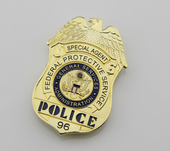 US FPS Special Agent Police Badge Solid Copper Replica Movie Props With Number 96
