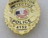 Farmington Detective Police Badge Solid Copper Replica Movie Props With Number 4152