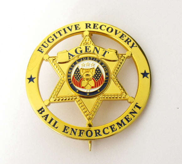 Fugitive Recovery Bail Enforcement Agent US Police Badge Solid Copper Brooch Replica