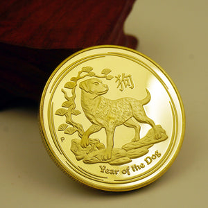 2018 Australia Lunar Zodiac Year Of the Dog 24K Gold Plated Coin