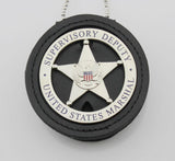 Genuine Leather Cut-out Holder With Chain Belt Clip For Round US MARSHAL & Other Police Badges Black