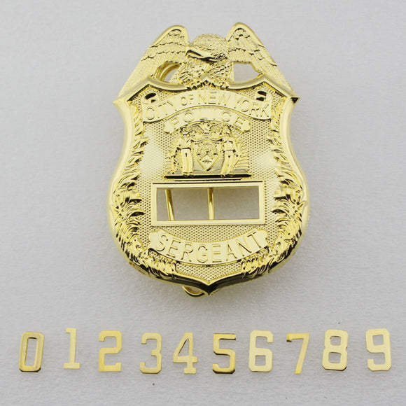 NY New York Detective Police Badge Replica Cosplay Movie Props *Customizable Badge Number*