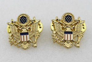 A Pair of US National Emblem Shoulder Collar Hat Cap Badge Cosplay Movie Props