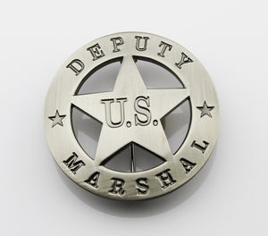 US Marshal Deputy Retro Badge Solid Copper Replica Movie Props