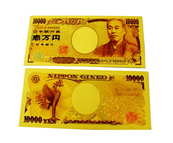 JPY 10000 Japanese Yen Gold Foil Prop Money Novelty Notes Banknotes