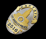 LAPD Los Angeles Police Captain Badge Solid Copper Replica Movie Props With Number 2516