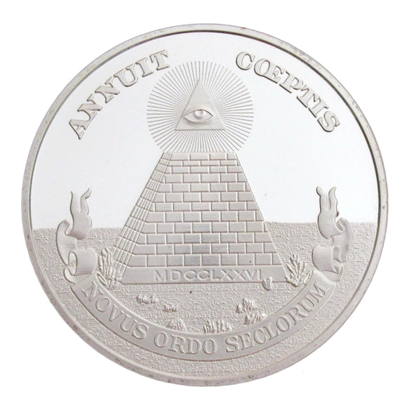 Masonic Freemason Symbol Pyramid All-seeing Eyes Silver Challenge Coin