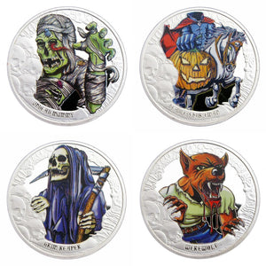 4 Pcs The Crypt Horror Tales Happy Halloween Colored Silver Commemorative Coins