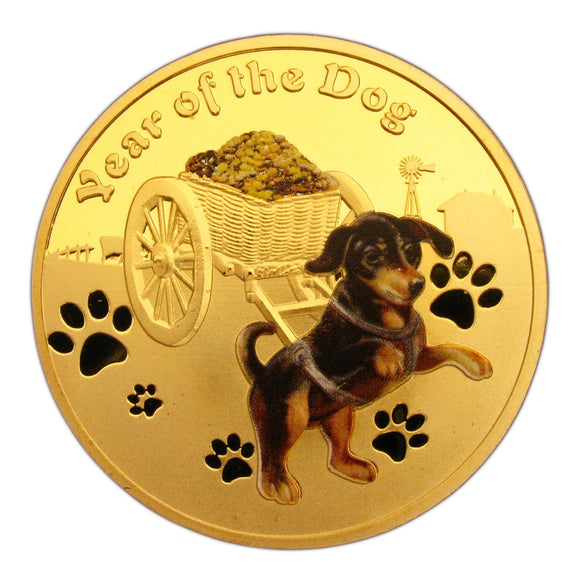 2018 Year of the Dog Lunar Zodiac A Dog Pull a Treasure Car 24K Gold Plated Coin