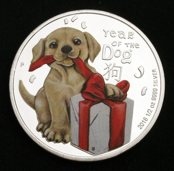 Lovely 2018 Year of the Dog Lunar Zodiac Colored Silver Coin New Year Gift