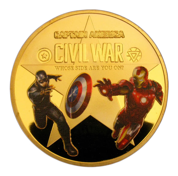 Captain America: Civil War Marvel Comics Superhero 24K Gold Plated Commemorative coin