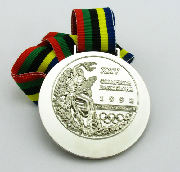 1992 Barcelona Olympic Silver Medal with Ribbon 1:1 Full Size Replica