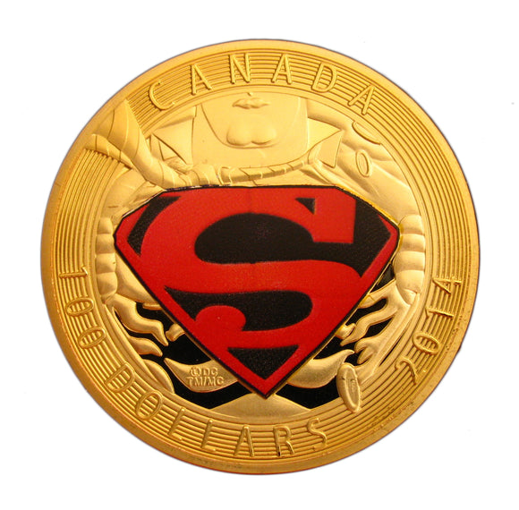 2014 Superman Logo Cartoon Comic 24K Gold Plated Commemorative Coin
