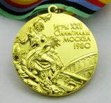 Complete Set of 1980 Moscow Olympic Medals Gold Silver Bronze with Ribbons 1:1 Full Size Replica