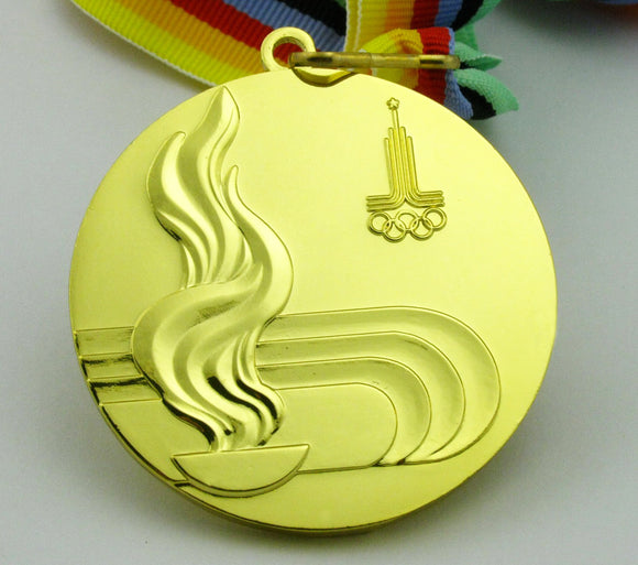 1980 Moscow Olympic Gold Medal with Ribbon 1:1 Full Size Replica