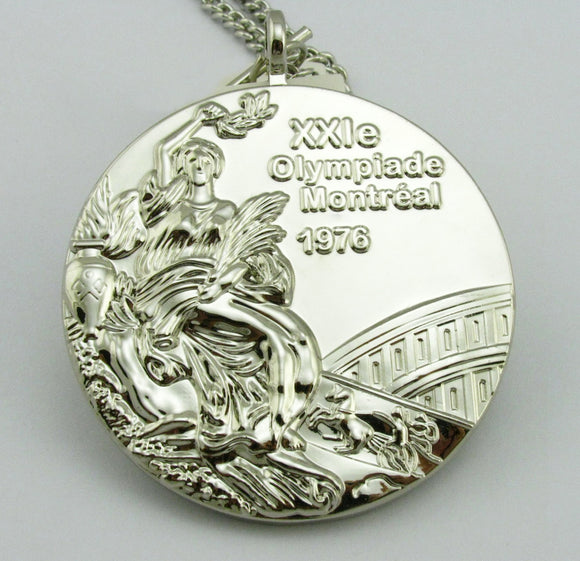 1976 Montreal Olympic Silver Medal with Chain 1:1 Full Size Replica