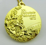 Complete Set of 1972 Munich Olympic Medals Gold Silver Bronze with Chain 1:1 Full Size Replica