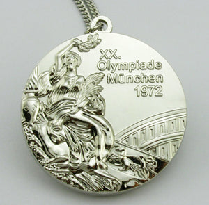 1972 Munich Olympic Silver Medal with Chain 1:1 Full Size Replica