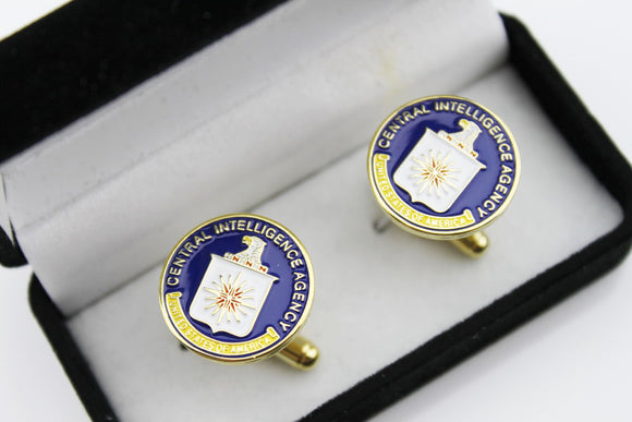 A Pair of US CIA Eagle Badge Men's Shirt Cufflinks with Box