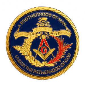 Brotherhood Freemasonry Masonic 24K Gold Plated Commemorative Challenge Coin