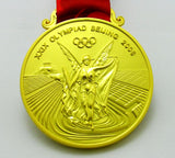 Beijing 2008 Olympic Medals Gold Silver Bronze with Ribbons 1:1 Full Size Replica