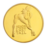 "Sexy Girl Lady ""Heads I Win & Tails You Lose"" Two-sided Flip Gold Challenge Coin #3"