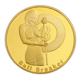 Ball Breaker Rack'em an Smack'em Heads & Tails Good Luck Gold Challenge Coin