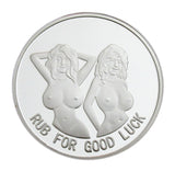 Bottoms Up Booze Hound Pin Up Lucky Heads Tails Sexy Lady Silver Challenge Coin