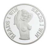 "Sexy Girl Lady ""Heads I Win & Tails You Lose"" Two-sided Flip Silver Challenge Coin"
