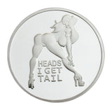 "Sexy Girl Lady ""Heads I Win & Tails You Lose"" Two-sided Flip Silver Challenge Coin #3"