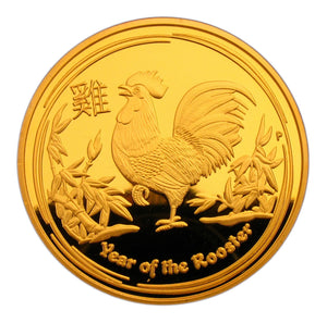 2017 Australia Lunar Zodiac Year of the Rooster 24K Gold Plated Coin