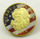 Santa Claus Snowman Merry Christmas Xmas New Year Holiday Gift Gold Coin