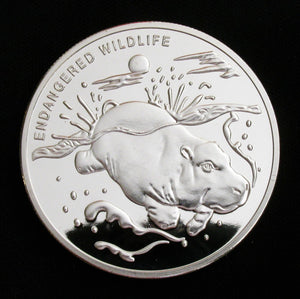 Congo Endangered Wildlife Hippo Silver Coin