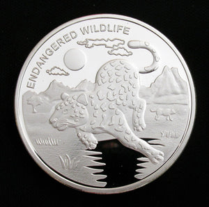 Congo Endangered Wildlife Panther Silver Coin